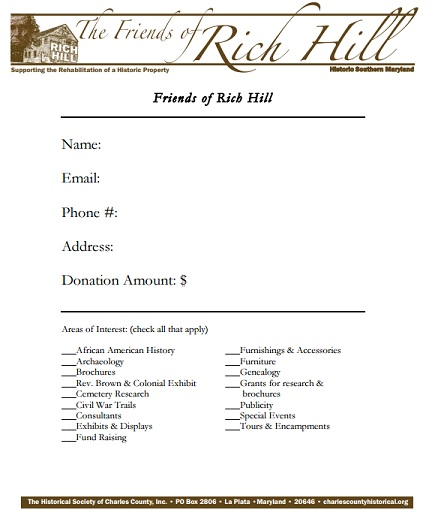 Rich Hill Donation Form image
