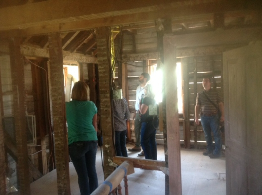Site visit with the Maryland Historical Trust to examine the recently revealed 18th century framing.